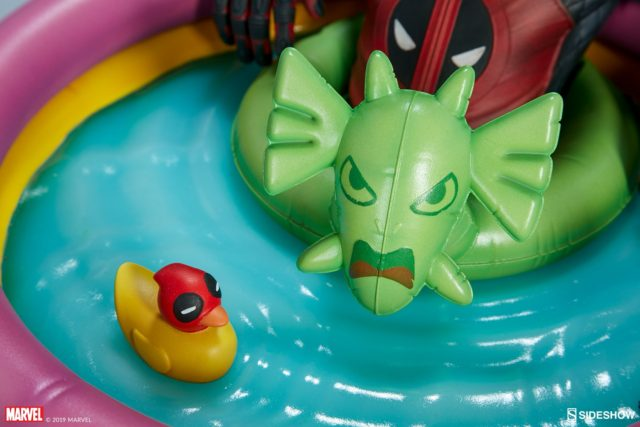 Close-Up of Sideshow Kidpool Statue Duckpool Fin Fang Foom Floatie