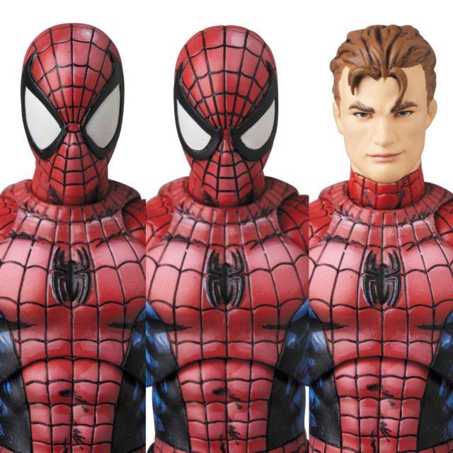 Comic Paint Spider-Man MAFEX Figure Unmasked Head Peter Parker