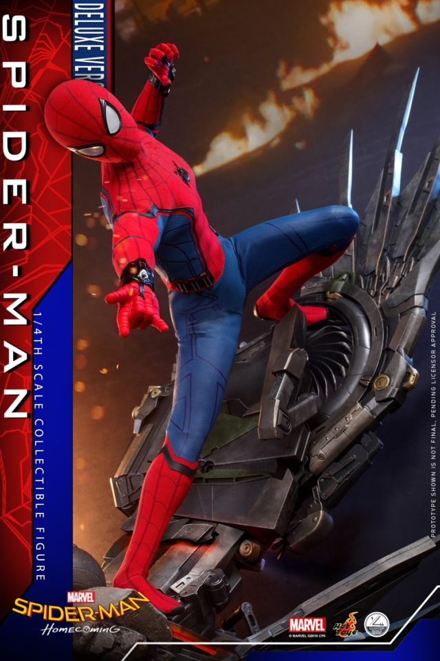 Deluxe Hot Toys Spider-Man Quarter Scale Figure on Vulture Wing Base