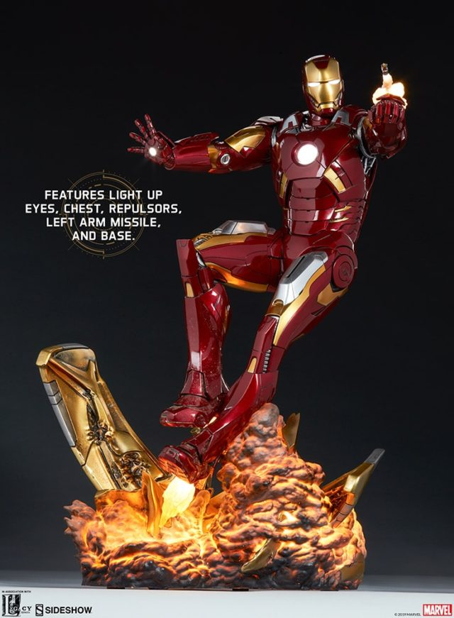 Light Up Features on Iron Man Mark VII Statue Sideshow Collectibles