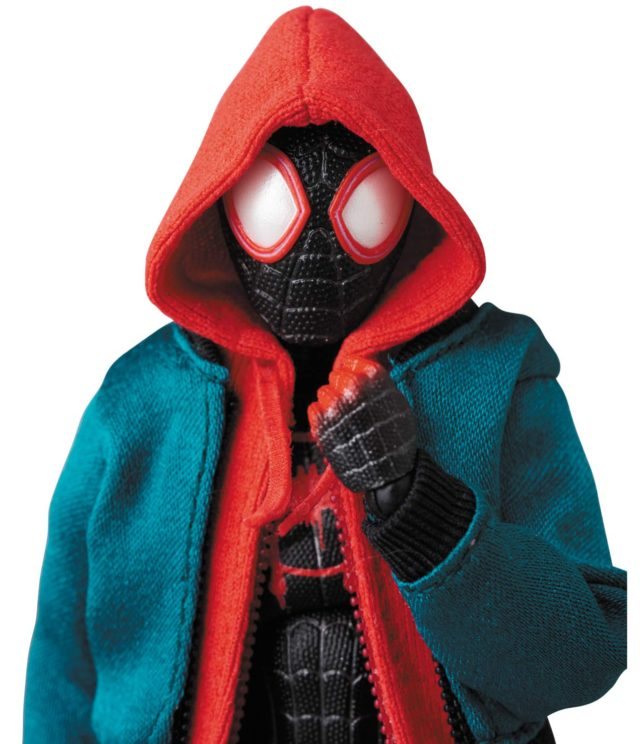 Medicom Miles Morales MAFEX Spider-Man Into the Spider-Verse Figure Wearing Hoodie