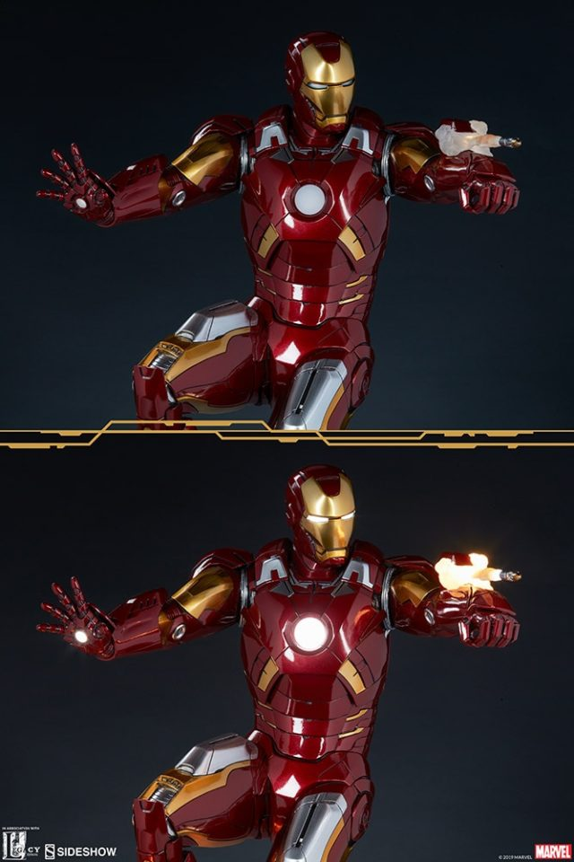 Sideshow Collectibles Mark VII Iron Man Maquette with Lights On and Off