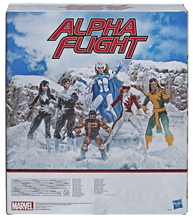 Amazon EXCLUSIVE Marvel Legends Alpha Flight 6-Pack Figures Set Box Back