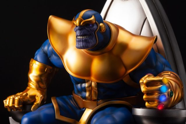 Close-Up of Koto Fine Arts Statue Thanos on Throne with LED Infinity Gauntlet