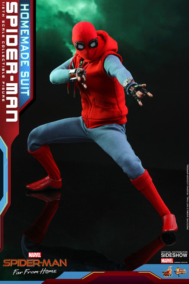 Homemade Suit Spider-Man Crouched Far From Home Hot Toys MMS