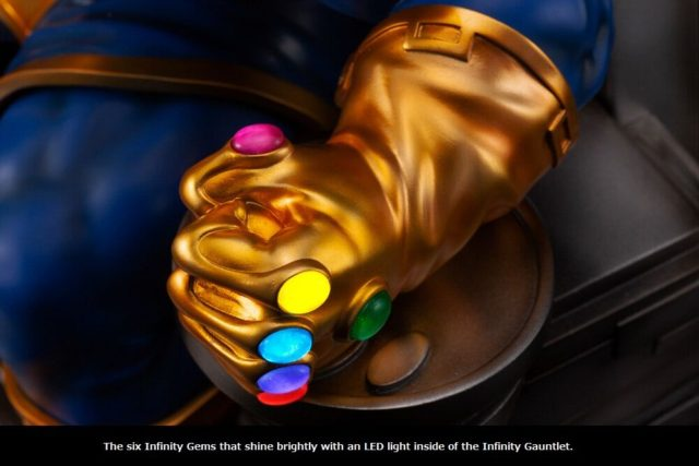 Light Up Infinity Gauntlet on Thanos on Throne Fine Art Statue