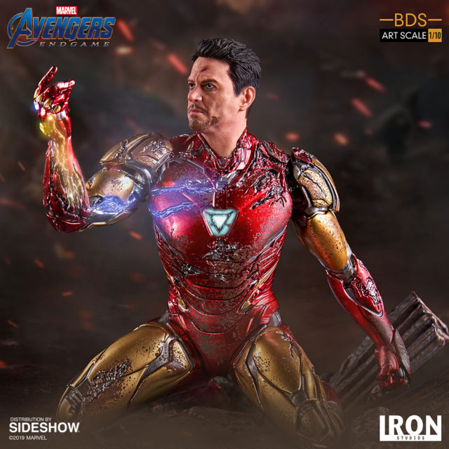 Side View of Endgame Iron Man Snap Statue by Iron Studios 6 Inch