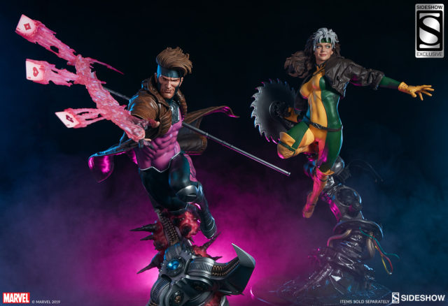 Sideshow X-Men Gambit and Rogue Statues Together