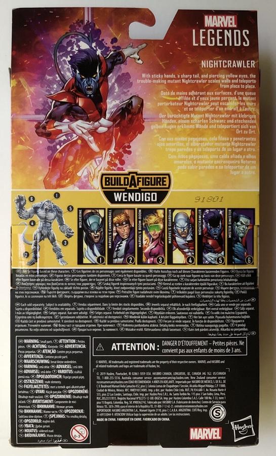 Box Back X-Force Marvel Legends Nightcrawler