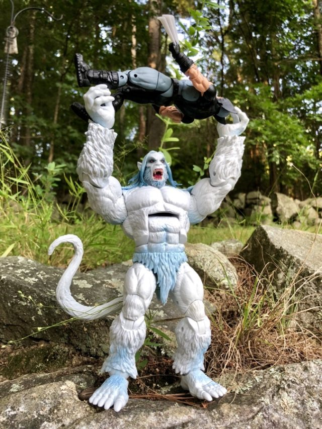 X-Force Marvel Legends Wendigo Build-A-Figure Review Holding Up Wolverine Figure