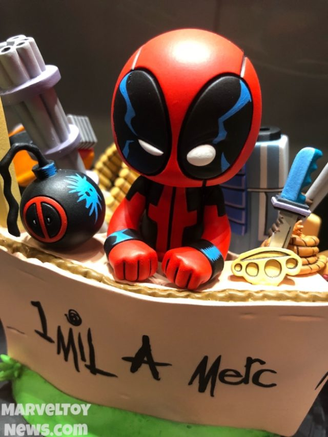 Close-Up of DST Marvel Babies Deadpool Booth Statue