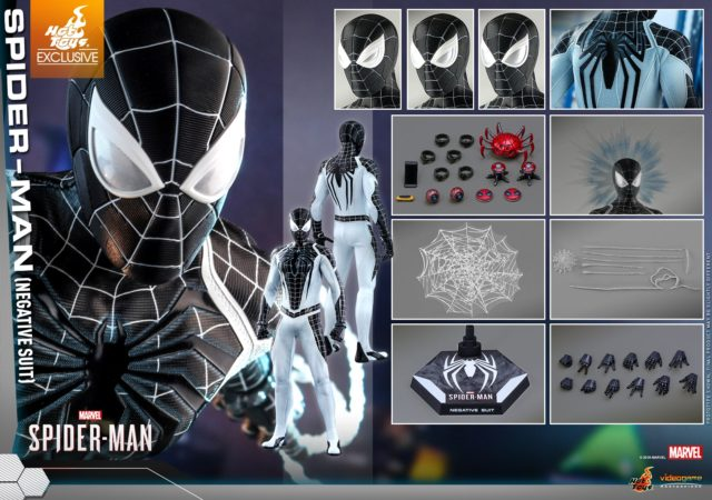 Hot Toys Negative Suit Spider-Man Figure and Accessories