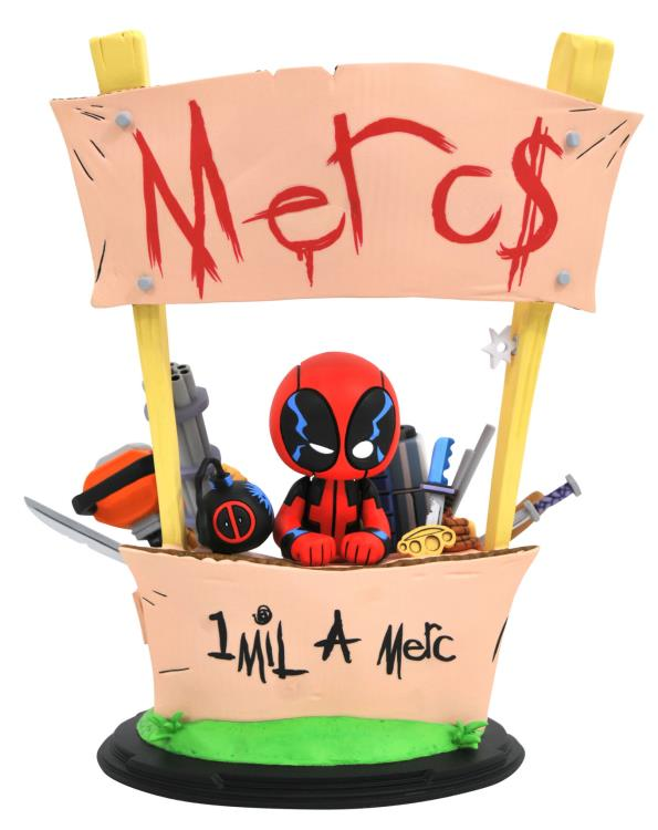 Marvel Animated Deadpool Statue Skottie Young Mercs for Money Booth