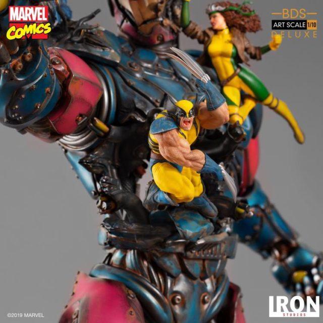 Iron Studios Wolverine Statue Slashing Through Sentinel