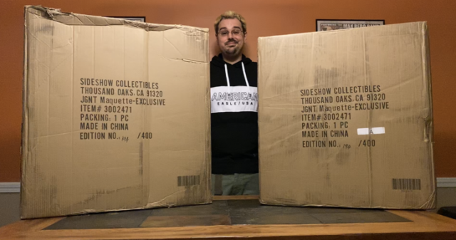 Dabid with Two Sideshow Juggernaut Maquette Shipper Boxes