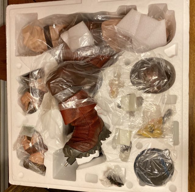 Sideshow Collectibles Juggernaut Unboxing Layout of Statue in Styroforam Tray