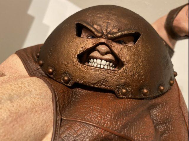 Close-Up of Juggernaut Head Helmet Sideshow 1:4 Statue