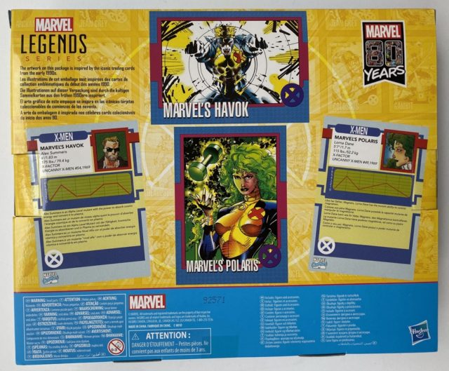Box Back 80th Anniversary Marvel Legends Havok Polaris