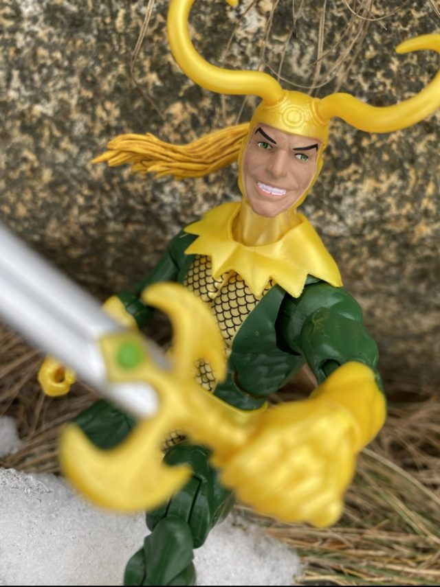 Close-Up of Marvel Legends Avengers Hulk Series Loki Action Figure