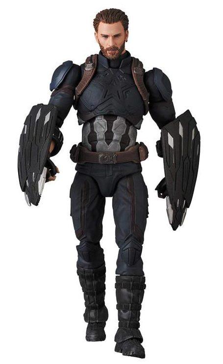 Avengers Infinity War MAFEX Captain America Figure with Wakandan Shields