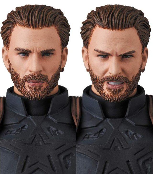 Close-Up of MAFEX Infinity War Captain America Head Sculpts