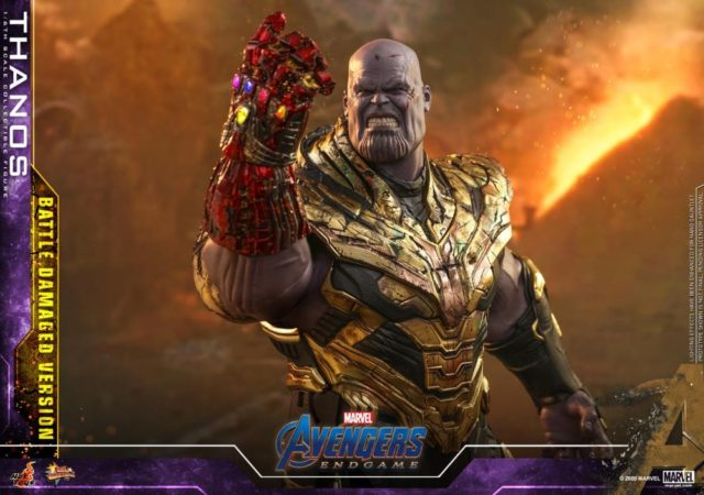 Battle Damaged Thanos Hot Toys Figure with Nano Gauntlet and Angry Head