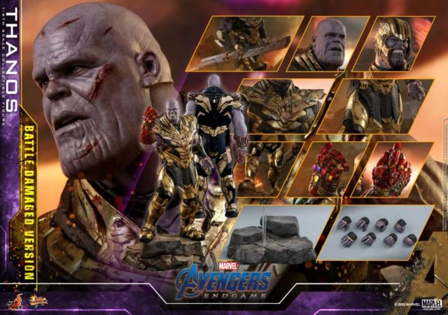 Hot Toys Battle Damaged Thanos Figure and Accessories