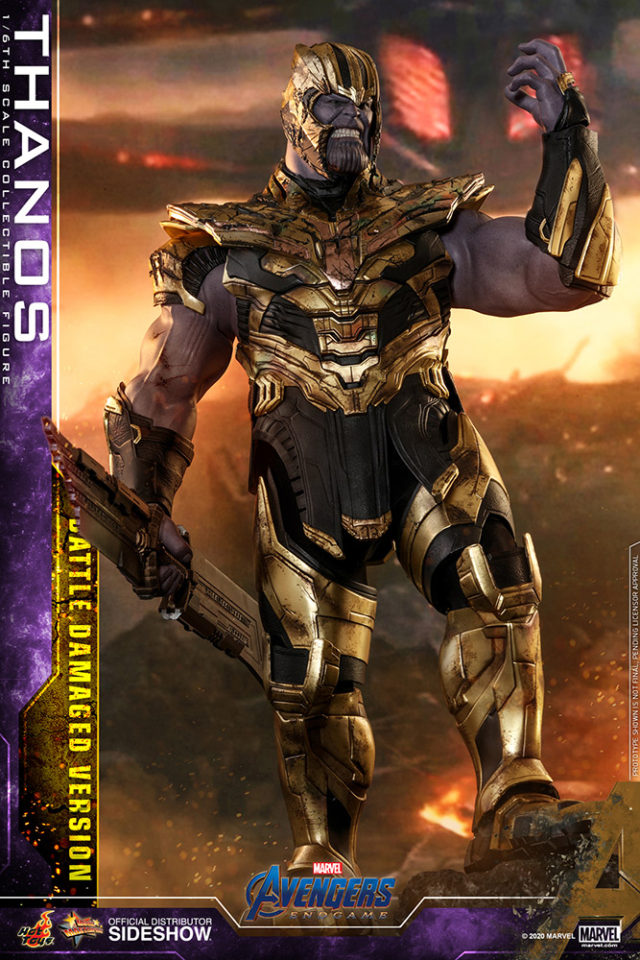 Hot Toys Thanos Battle Damaged Figure with Helmet and Sword