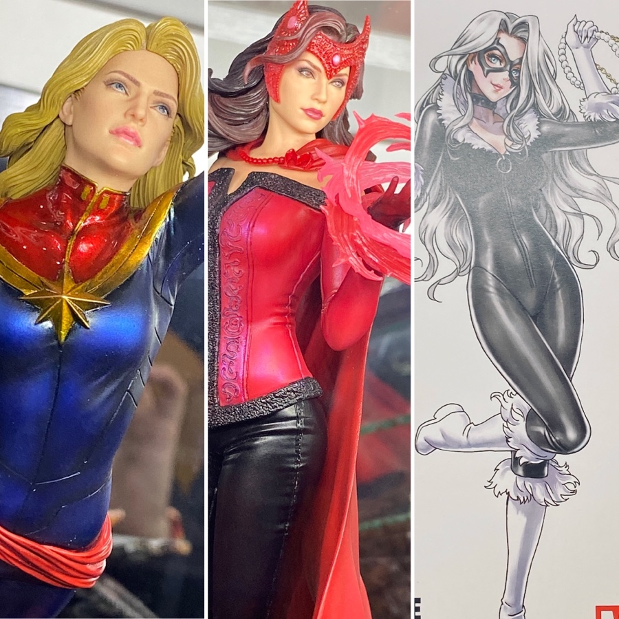 Kotobukiya Artfx Premier Scarlet Witch Captain Marvel Bishoujo Black Cat Marvel Toy News Target/holiday shop/halloween/all halloween costumes/captain marvel : marvel toy news