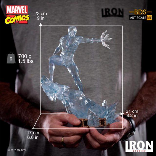 Size Scale Photo Iron Studios Iceman Statue
