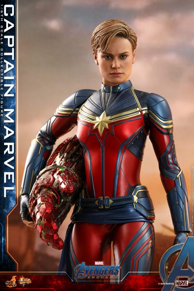 Brie Larson Portrait on Hot Toys Endgame Captain Marvel Figure with Infinity Nano Gauntlet