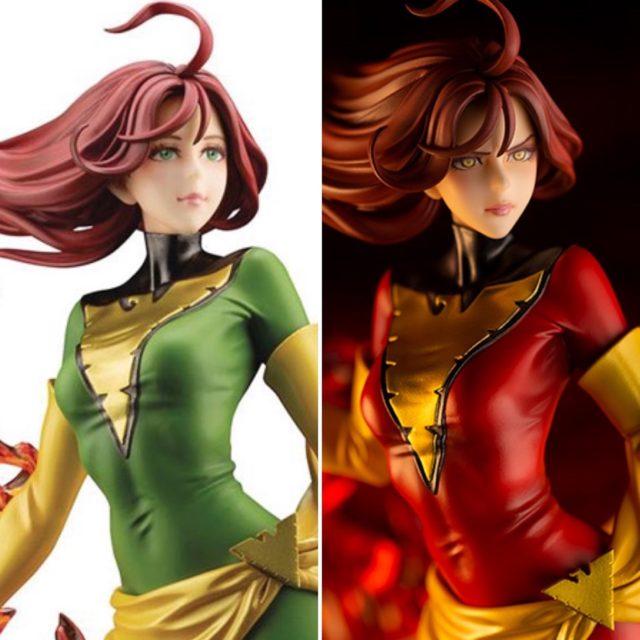 Comparison of Kotobukiya Bishoujo Phoenix and Dark Phoenix Rebirth Statues