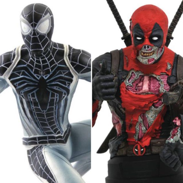 SDCC 2020 Exclusives Negative Suit Spider-Man Gallery and Zombie Deadpool Bust