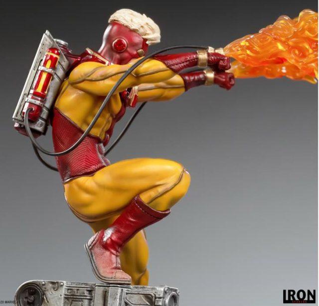 Side View of Pyro Iron Studios X-Men BDS Statue