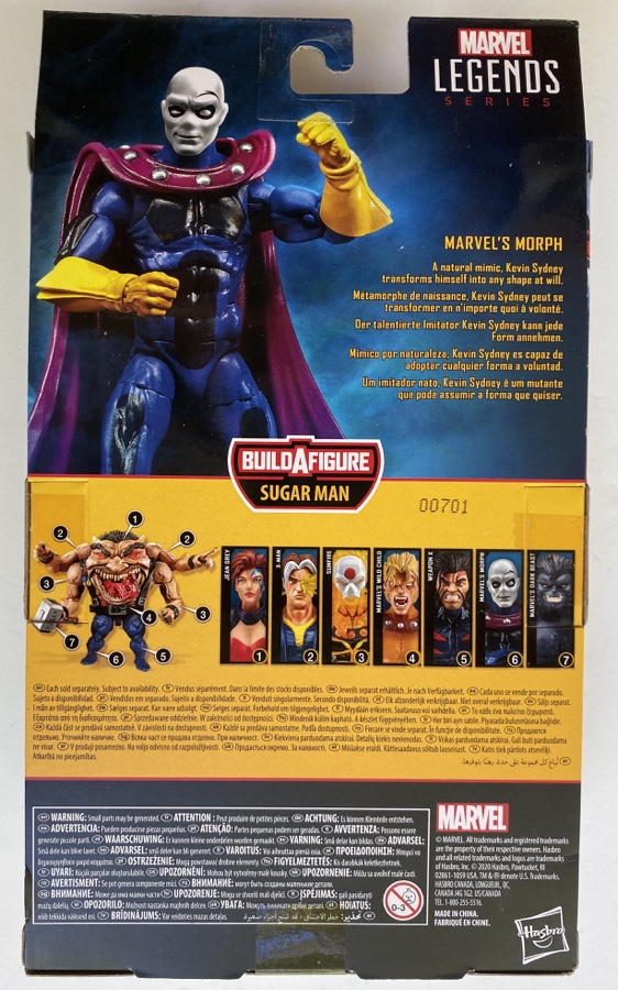 Box Back Marvel Legends 2020 X-Men AOA Morph Figure