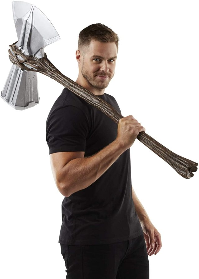 Marvel Legends Stormbreaker Axe Replica Over Shoulder