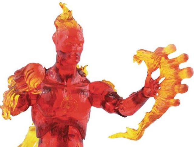 Close-Up of DST Human Torch Marvel Select 7 Inch Action Figure