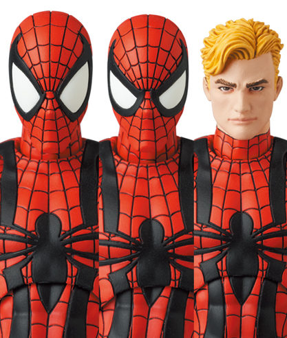 MAFEX Ben Reilly Spider-Man Heads Unmasked Masked Angry