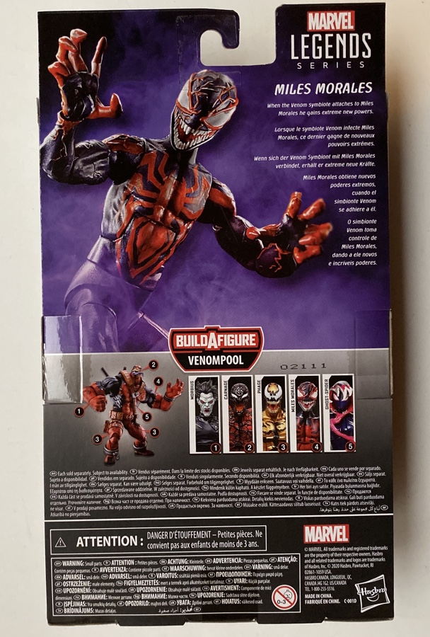Box Back Miles Morales Marvel Legends Maximum Venom Action Figure