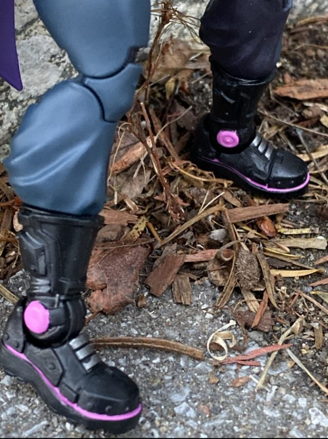 Close-Up of Pink Paint Details on Marvel Legends Prowler Movie Figure Boots