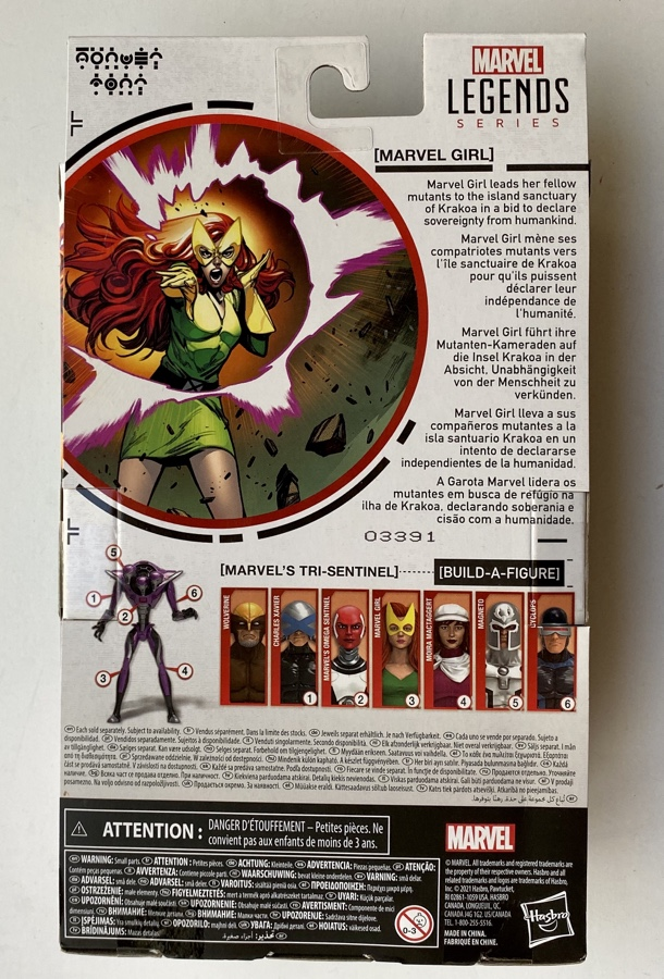 Box Back House of X Marvel Legends Jean Grey Figure