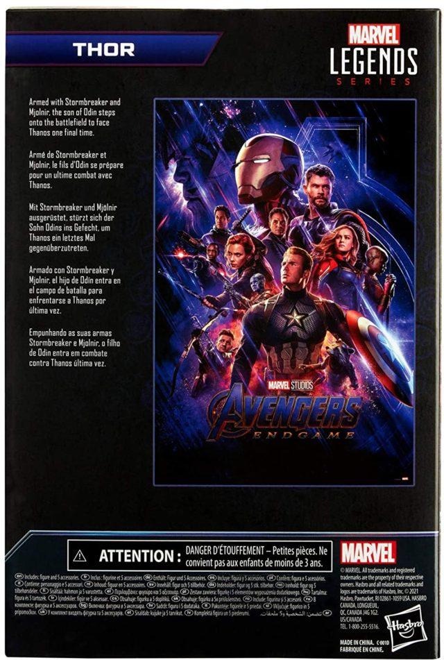 Box Back Marvel Legends Infinity Saga Thor Figure Endgame