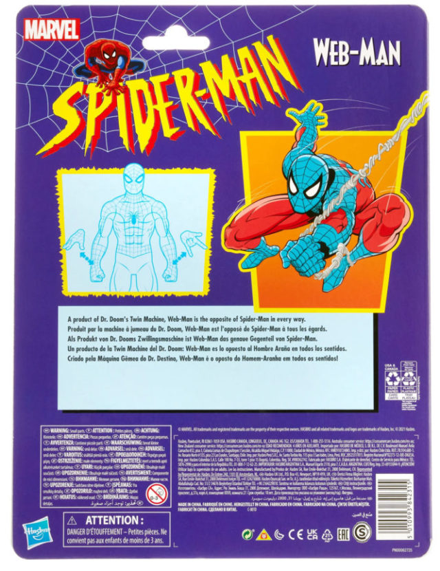 Spider-Man Marvel Legends Retro Series Web-Man Packaging Back