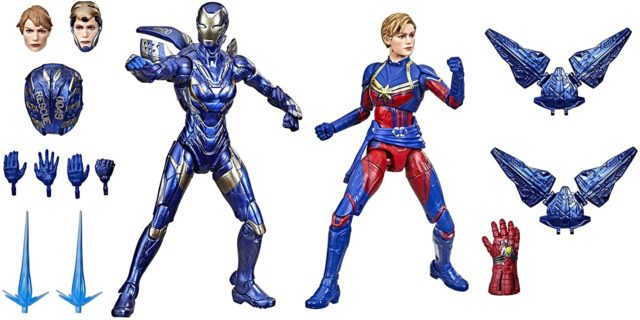 Marvel Legends Infinity Saga Endgame Captain Marvel and Rescue Amazon Exclusive Figures and Accessories