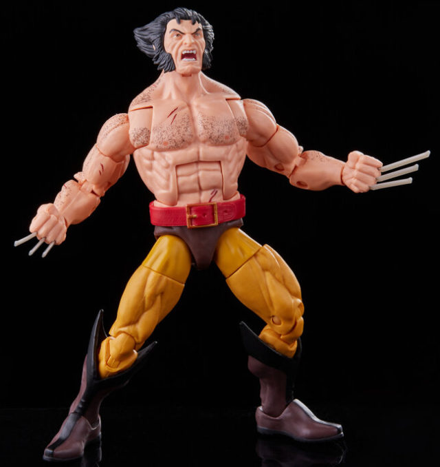 Marvel Legends Shirtless Wolverine Figure with Claws and Angry Head