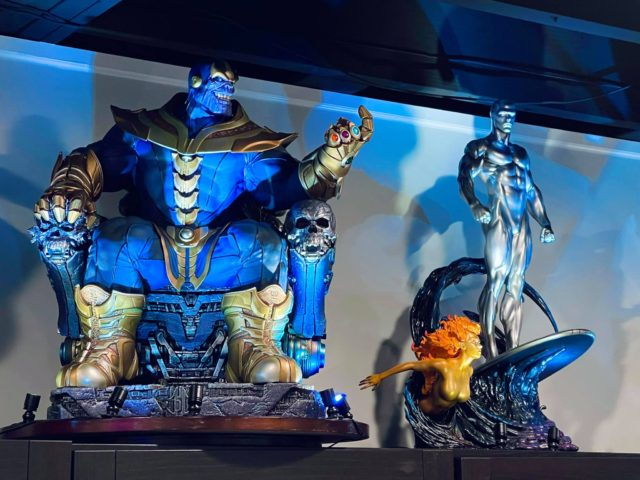 Sideshow Thanos on Throne Maquette Next to Silver Surfer