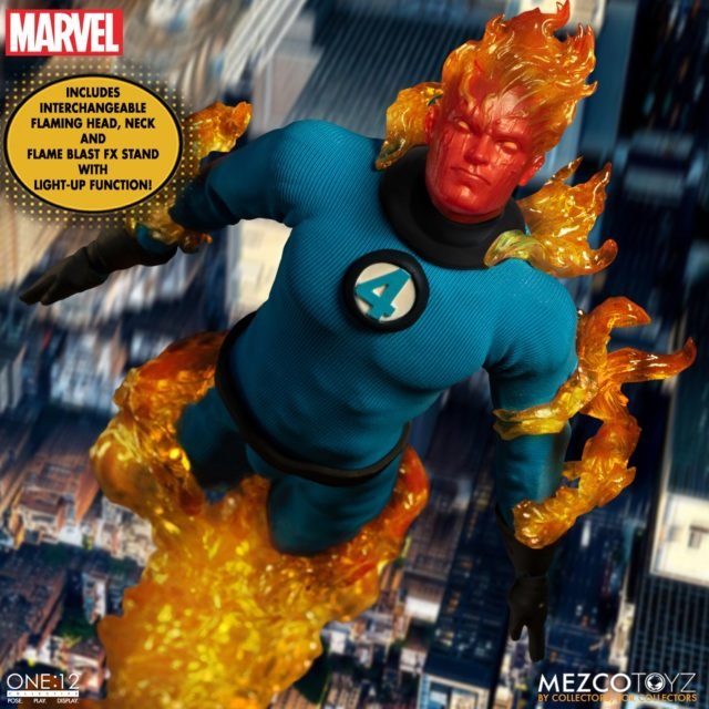 Human Torch Mezco ONE 12 Collective Figure with Flame Fire Effects Pieces Accessories