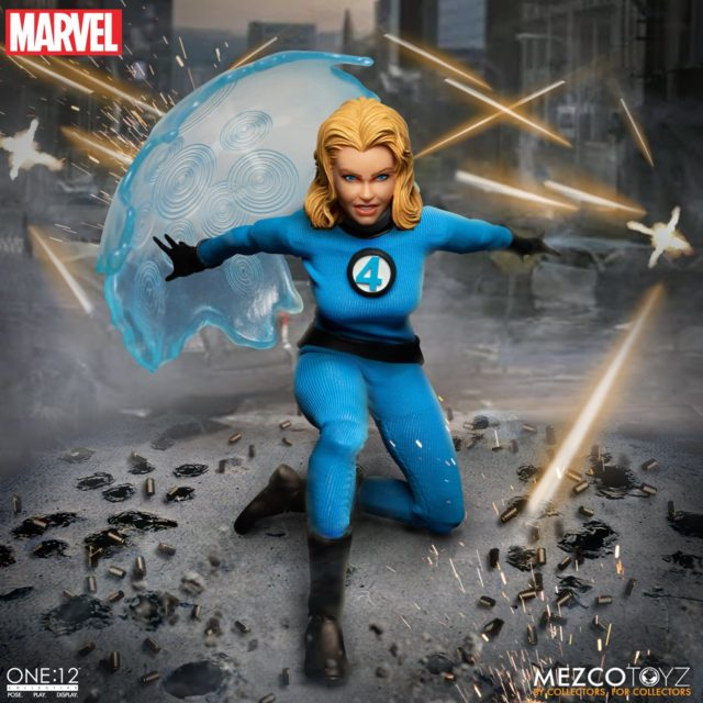 Invisible Woman Mezco ONE:12 Collective Figure with Large Invisible Shield