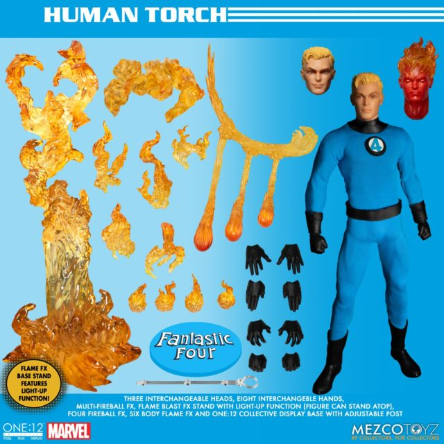 Mezco Human Torch ONE:12 Collective Figure and Accessories Johnny Storm