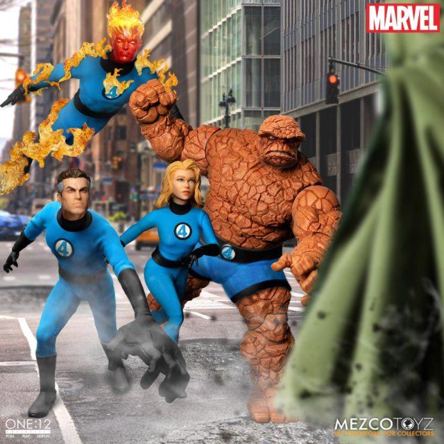 Mezco ONE 12 Collective Fantastic Four Figures Set vs Dr Doom